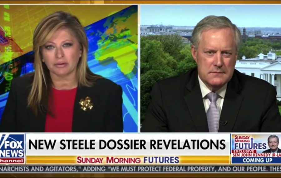 White House Chief of Staff Mark Meadows and Fox Business anchor Maria Bartiromo