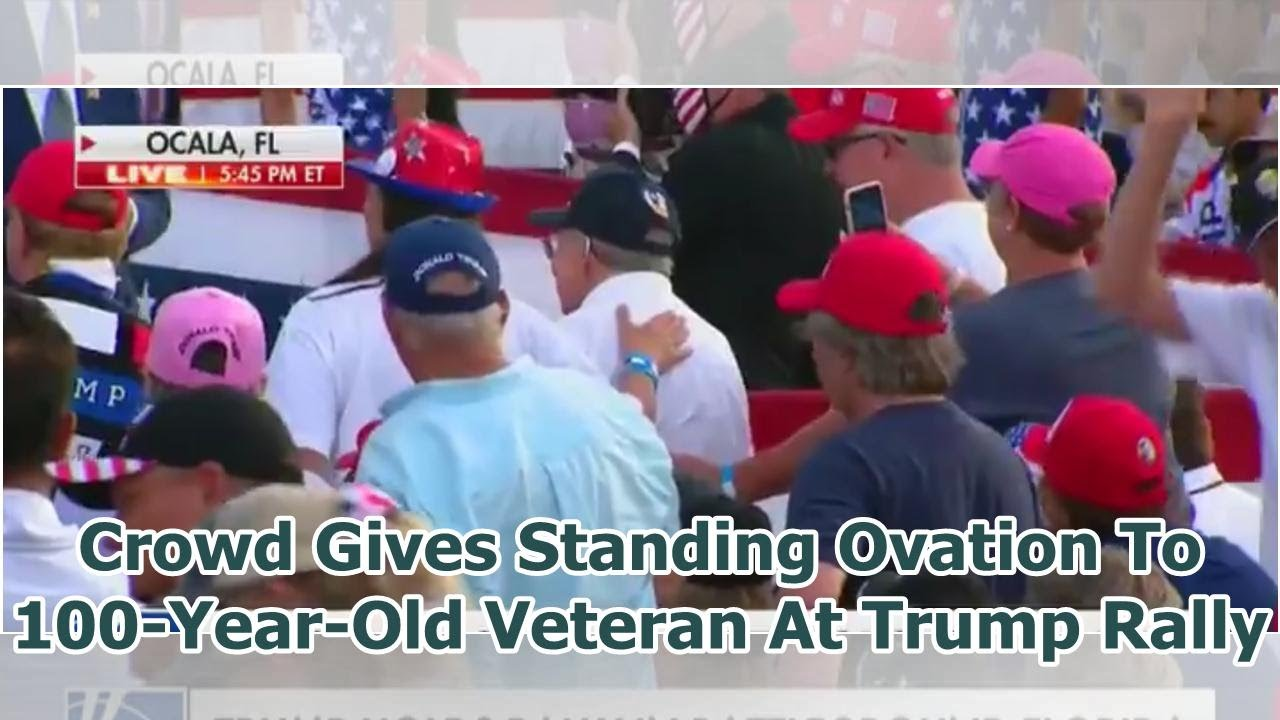 crowd gives standing ovation for 100 year old veteran at Trump rally in Florida